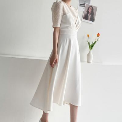 [애슬릿]국내 반팔 화이트 미디 원피스 드레스