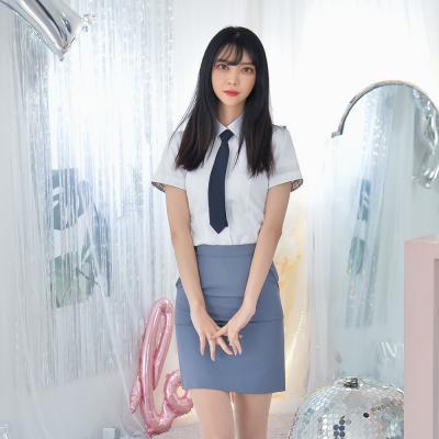 [하복][허리조절] 스판 청색 교복치마 교복 스커트