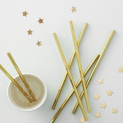 골드 포일드 종이 스트로우 Gold Foiled Paper Straws