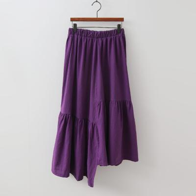 Linen Cotton Unbal Long Skirt
