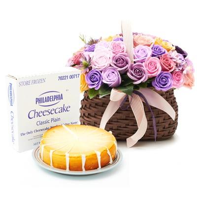 필라델피아 치즈케익 플레인(1700g)+비누꽃 바이올렛바구니