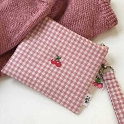 pink cherry pouch 핑크 체리 파우치