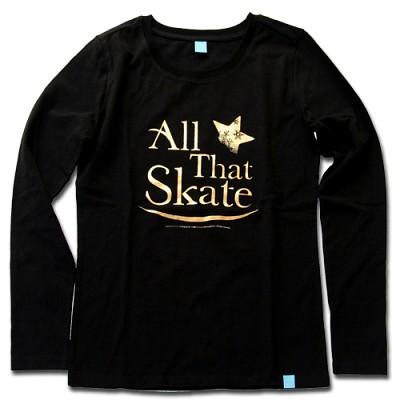 김연아 Yuna Kim 낙원댄스 올댓스케이트 All That Skate 아이스쇼 공식 티셔츠  올댓스포츠 티 여성용 긴팔 블랙 S 사이즈