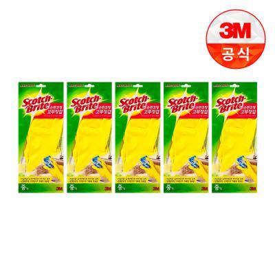 [3M]면코팅 노랑 긴 고무장갑 5개세트