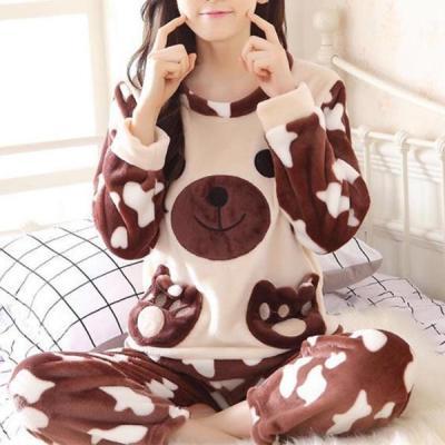 얼룩곰 수면잠옷 여성겨울 극세사 수면 바지 잠옷세트