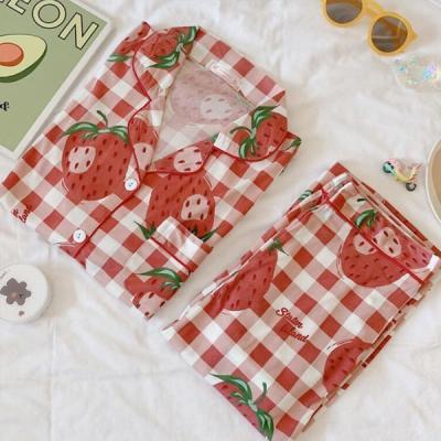 빅스트로 여성잠옷 체크 긴팔 과일 홈웨어 파자마세트