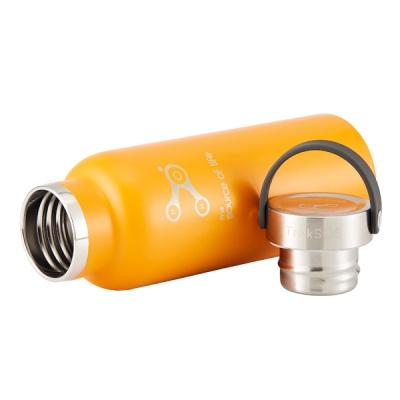아시아한정판 오렌지칼라 스텐 보온보냉물병,뱀부뚜껑 COB500