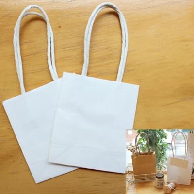 작은 선물 포장 손잡이 화이트 종이 미니 쇼핑백