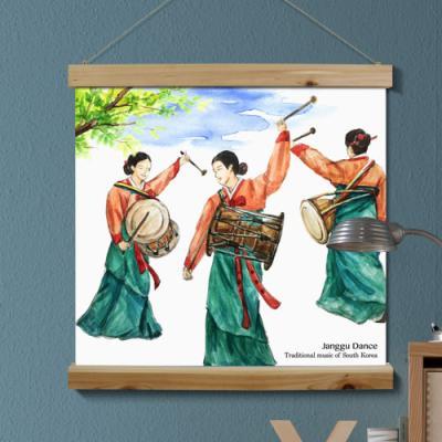 pk625-우드스크롤_60CmX60Cm-한국전통춤