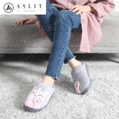 [애슬릿]안감 기모 고양이 캐릭터 털 슬리퍼