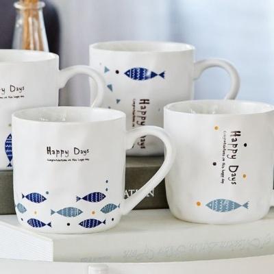 도자기 헤링 머그 물고기 디자인 커피잔 머그잔 찻잔