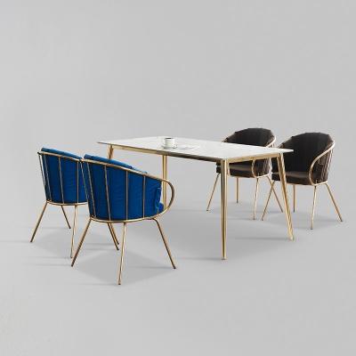 카엘로 세라믹 마블 골드 식탁 세트 1400 + 의자 4개