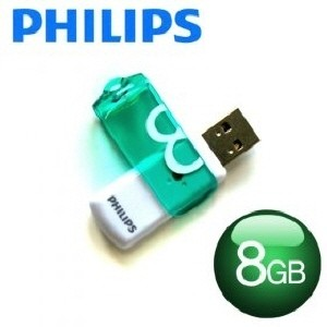 [PHILIPS] 필립스 USB메모리 / VIVID 8GB / 색상:그린+화이트 /스윙방식 / 초소형사이즈 /