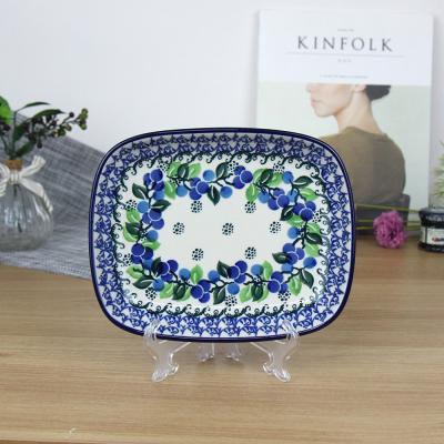폴란드그릇 아티스티나 라운드직사각접시 소 패턴1416