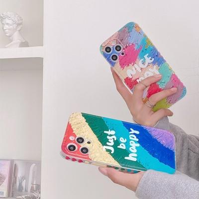 아이폰12 미니 11 pro max 컬러 유화 페인팅 폰케이스
