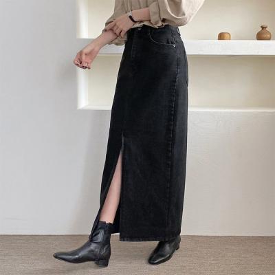 Denim Slit Maxi Skirt