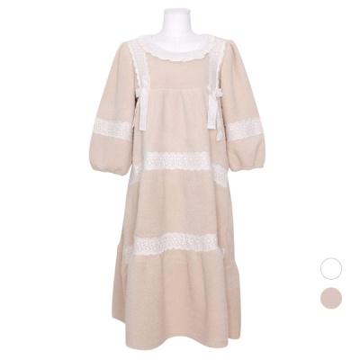 [쿠비카]러블리 레이스 넥 양털 원피스 여성잠옷W828