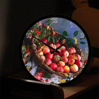 nf494-LED시계액자35R_그림같은사과바구니