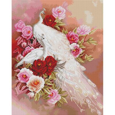 꽃과 하얀공작 (캔버스형) 보석십자수 40x50