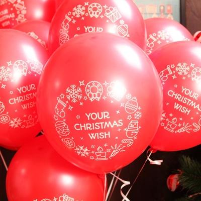 크리스마스풍선30cm - 리스(레드)