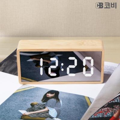 유엠투 BL20 대나무 미러 LED 알람 시계