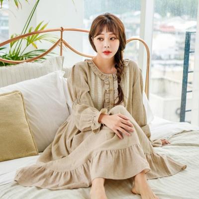 [쿠비카]라운드넥라인 선염면 원피스 여성잠옷 W505