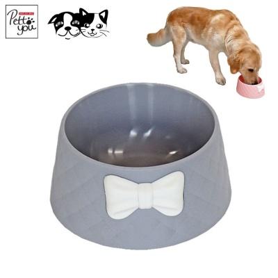 펫투유 우쭈쭈 리본 퀄팅식기 (그레이) (강아지 식기)