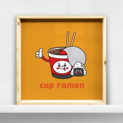 ig517-우드프레임액자_컵라면과삼각김밥