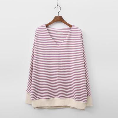 Kayln Stripe V-Neck Sweatshirt