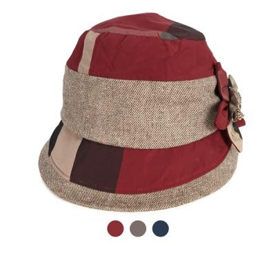 [디꾸보]배색 라인 플라워 패치 벙거지 모자 JAN308N