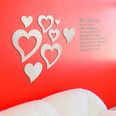 [우드스티커] 우든하트 (반제품) - 입체우드 월데코 포인트 집꾸미기 벽장식