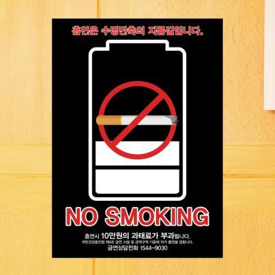 금연 스티커_담배 배터리_210×300mm