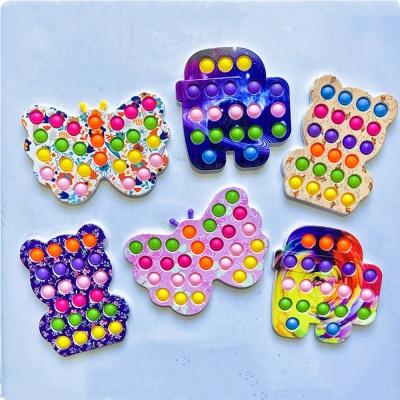 플라스틱 팝잇 푸쉬 팝 곰돌이 나비 어몽 버블 장난감