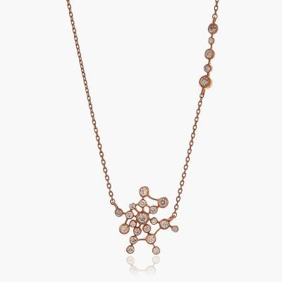 제이로렌 92N0523 거미줄 큐빅 로즈골드 실버목걸이