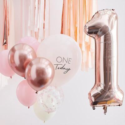 [빛나파티]핑크 첫번째 생일 돌잔치 풍선 10개