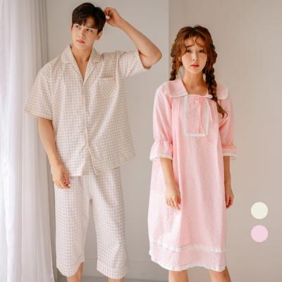 [쿠비카]미니 체크 순면 원피스 커플잠옷 WM212