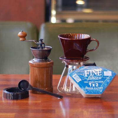 커피세콩 핸드드립세트(도자기+필터+유리서버+핸드밀)