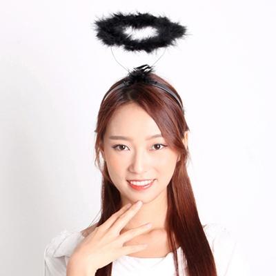 천사링 머리띠-블랙