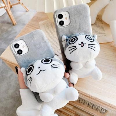 아이폰12 11PRO SE2 X 8 XR 입체 고양이 털 폰케이스