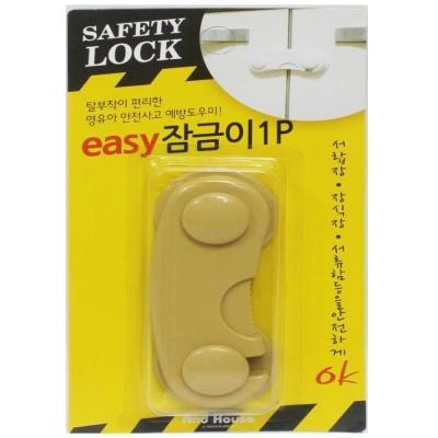 다용도 안전 잠금이1P-우드색 문열림방지 잠금장치