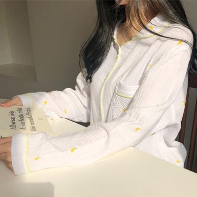 퓨어 레몬 순면 거즈면 100% 봄 가을 파자마 잠옷