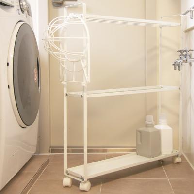 화이트메탈 세탁기 틈새 이동식 트롤리 수납장 선반