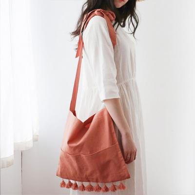 Tassel point linen bag_orange