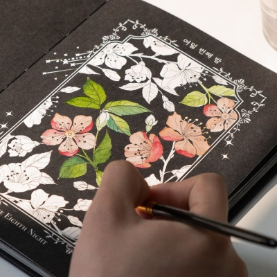 꽃잎 수채화 블랙 KIT