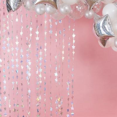 실버 홀로그램 별모양 파티커튼 Curtain Backdrop GR