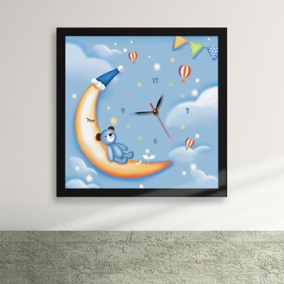 cw116-밤하늘의초승달과테디베어액자벽시계_디자인액자시계