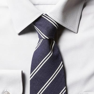 남자 스트라이프 블루 면 넥타이