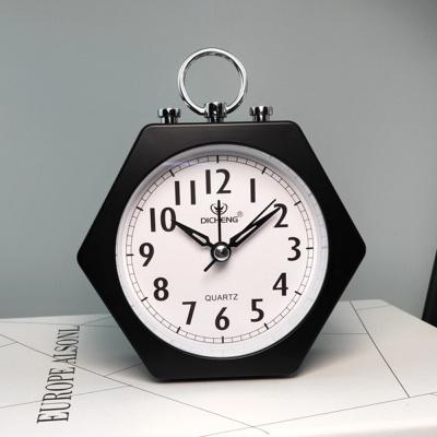 퀴리 육각 알람 탁상시계(블랙)