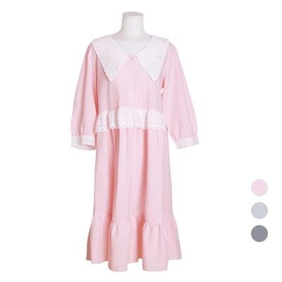[쿠비카]빅카라 체크 선염 원피스 여성잠옷 W560