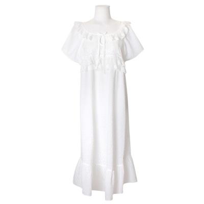 [쿠비카]고퀄리티 자수레이스 롱 원피스 잠옷 W608